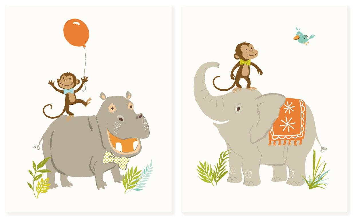 Safari-Wand-Kunst Elefant Affe Nilpferd