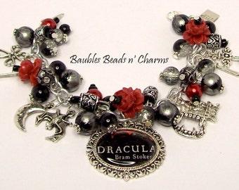 Dracula Charm Bracelet, Dracula Vampire Jewelry, Literary Charm Bracelet, Literary Necklace, Dracula Necklace, Cluster Bracelet, Book Bracel