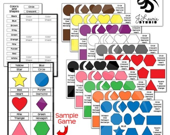 Colors & Shapes Activity-Printable Game-Educational Learning-Instant Download