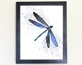 Dragonfly Art Print Galaxy Spirit Animal Watercolor