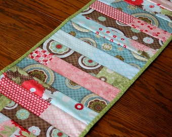Table Runner - Moda Brand Patchwork Strip Quilted Table Runner, Table Decoration