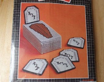 Plastic Canvas Halloween Coaster Kit Vintage Halloween Plastic Canvas Kit Tombstone Halloween Plastic Coaster kit Unopen