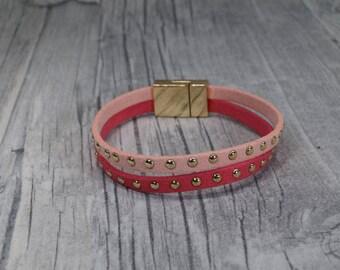 Pink suede leather bracelet-pink