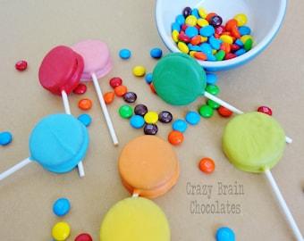 Chocolate Dipped Rainbow Oreo Pops (8)