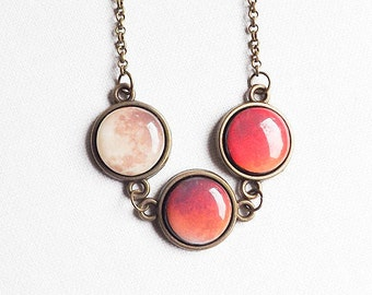 Red Moon Necklace, Lunar Eclipse Necklace, Moon Phases Necklace, Full Moon Necklace, Solar System Necklace, Galaxy, space