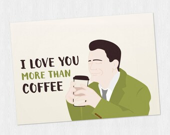 Funny anniversary printable card Dougie with coffee in the elevator PDF DIY Greeting card Happy Valentine's Day - 6x4 inch