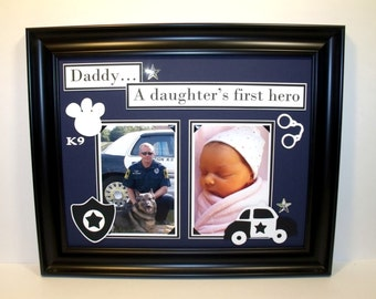 11x14 Father Daughter Picture Frame - Daddy A Daughter's First Hero - Policeman Theme - Frame Included