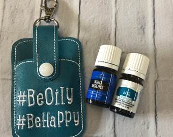Be Oily Be Happy Essential Oils Keychain Case Holder, Essential Oil Storage, Essential Oil Travel Pouch, Essential Oil Key Fob, Oil Case