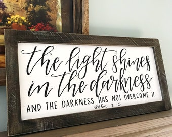 John 1:5 // The Light Shines // Hand Painted Wood Sign