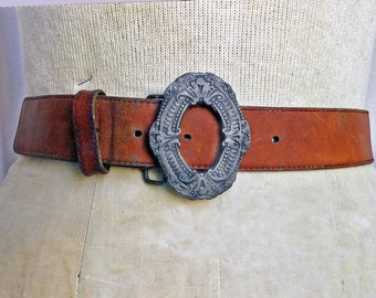 Vintage OXIDIZED iron belt buckle