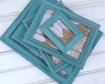Frame Set BLUE Chalk Paint, FIVE frames with glass & backing Shabby Chic Gallery Wall Upcyced Painted Home Decor (C009.3)