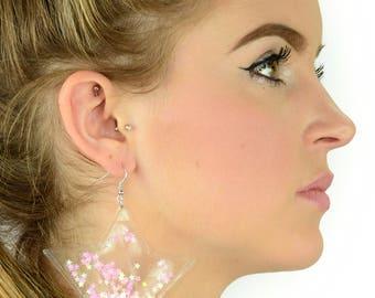 Mini Liquid Glitter Star Earrings - Bubblegum