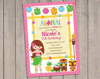 Luau Invitation Luau Birthday Luau Party Luau Invites Luau
