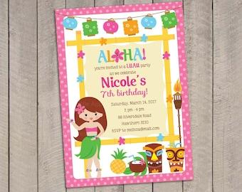 Hawaiian Luau Tiki Invitation Retro Luau Tiki Birthday