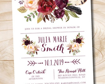 Fall Watercolor Floral Bridal Shower Invitation, Fall Bridal Shower Invite  - Printable digital file or printed invitations