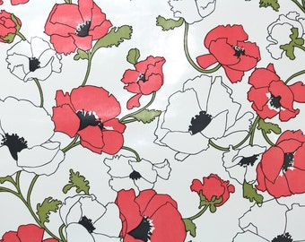 Retro Wallpaper by the Yard 70s Vintage Wallpaper - 1970s Vinyl Pink and White Poppies