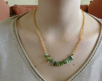 Lovely Yellow Sapphire and Watermelon Tourmaline with 14 kt Gold Beads Necklace and 18 kt Gold Clasp