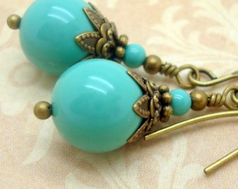 Blue Green Pearl Earrings in the Art Nouveau Style with Turquoise Swarovski Pearls