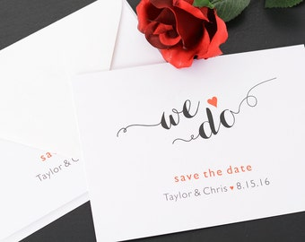 "We Do - Save The Date Cards - 5"" x 7"" Wedding Announcement Cards - Save The Dates - Personalized Save the Dates - Photo Cards"