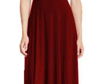 Maxi dark red  bridesmaid dress with tube top Infinity dress