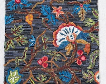 Jacobean Crewel Work Rug Hooking Pattern