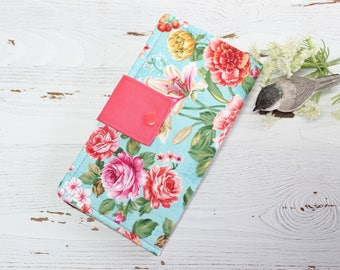 Rose garden women's bifold Wallet, slim travel clutch, handmade fabric wallets, ID holder, ladies billfold, gifts for her