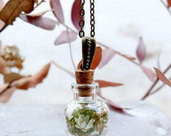 Real plant necklace, botanical necklace, gift for woman, moss terrarium, real flower necklace, nature necklace, glass bottle necklace