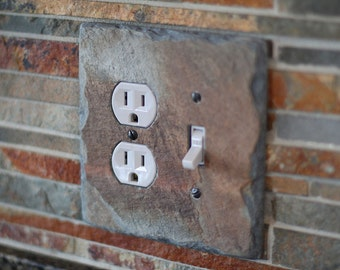 Decorative Slate Switch Plate Outlet Cover Duplex Socket Combo Switchplate Light Wall Plate SS/SOC
