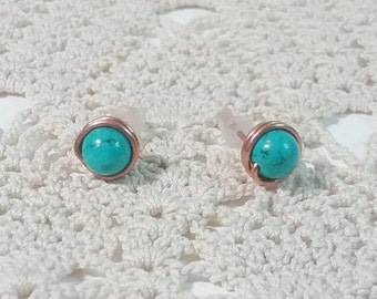 Turquoise Stud Earrings Copper Wire Wrapped Turquoise Earrings Small Turquoise Earrings Healing Soothing Earrings