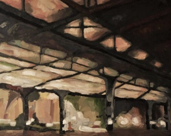 painting of a Train Trussel