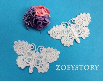 Off White Cotton Butterfly Lace Applique 5 pcs (JY014)