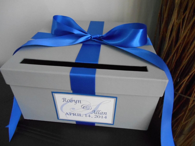 custom wedding card box with silver gray cobalt royal blue. Black Bedroom Furniture Sets. Home Design Ideas