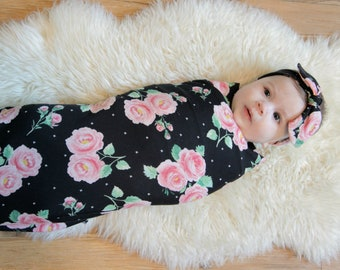 Floral Swaddle Blanket and Top Knot Headband - Stretchy Jersey Knit Swaddle for Baby Girl - Gift Set - Pink Rose on Black