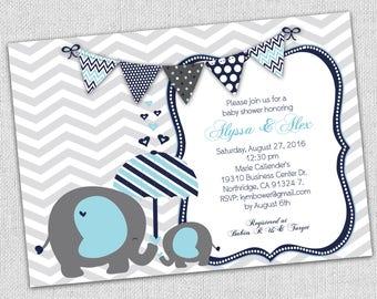 baby boy elephant baby shower invitation, elephant shower invitations, little boy baby shower, umbrella invitation baby blue and navy blue