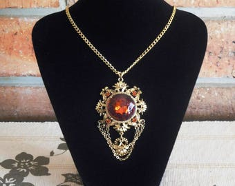 1960s faux gold Edwardian or Victorian revival style necklace pendant, deep amber glass stones, 54cm link chain, movie prop, TV prop