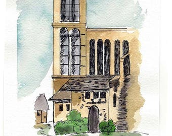 Original Pen and Ink with Watercolor Wash Painting - Urban Sketching - Gothic Style Building with Tower - Not a Print
