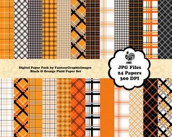 Plaid Scrapbook Paper Digital CU Pack Tartan Orange Black Halloween 24 Papers Photography Background Printable Scrapbooking Instant Download