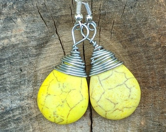 Yellow Turquoise Wire Wrapped Briolette Earrings