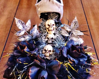 Skulls, Black Roses, Silver Leaves, Skull Cup - Day of the Dead Halloween Floating Cup Table Decor