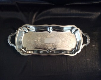 Silverplate footed tray with handles and etched pattern