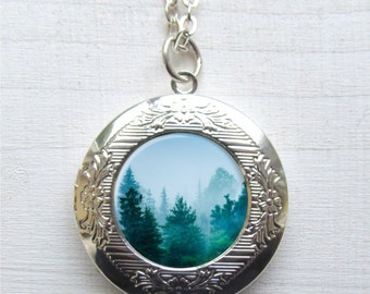 Forest Locket Necklace, Tree Locket, Mountain Necklace, Pine Tree Jewelry
