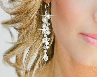 Swarovski Bridal Earrings, Pearl Bridal Earrings, Crystal Wedding Jewelry for the Bride
