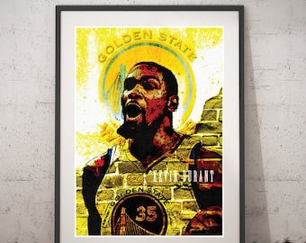 Kevin Durant Printable Poster, Golden State Warriors Digital Art, Kevin Durant Print Portrait, Kevin Durant Wall Art Kevin Home Decor Prints