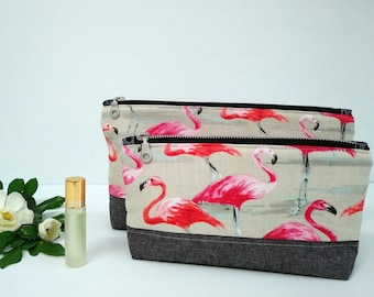 Flamingo Cosmetic bag, make-up pouch, travel bag, toiletry bag, nappy bag