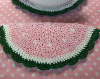 Pink  watermelon potholder, hotpad, Tirvet, Table/Kitchen Decor    100% cotton