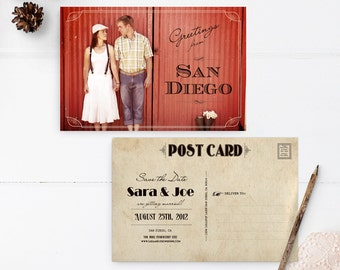 """Vintage Save the Date, 4x6, Save the Date, the """"Sara"""""""