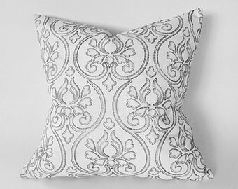 Throw Pillows, Designer Pillows, Pillow Covers, Cream Pillow, White Cushion, Metallic, Embroidered, Ogee, Neutral,  CUSTOM SIZES, 18, 20