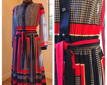 1970's Sheer Shirt Dress | Full Skirt | Red White Blue | Statement Dress | Vintage Geometric Print | Fun Color Blocked Polka Dot Dress | MED