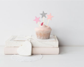 Pink & Silver Star Cupcake Topper Set