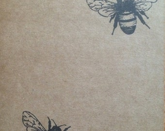 Kraft notebook bee notepad, Perfect travel journal, sketchbook, or for writing, great gift for her.